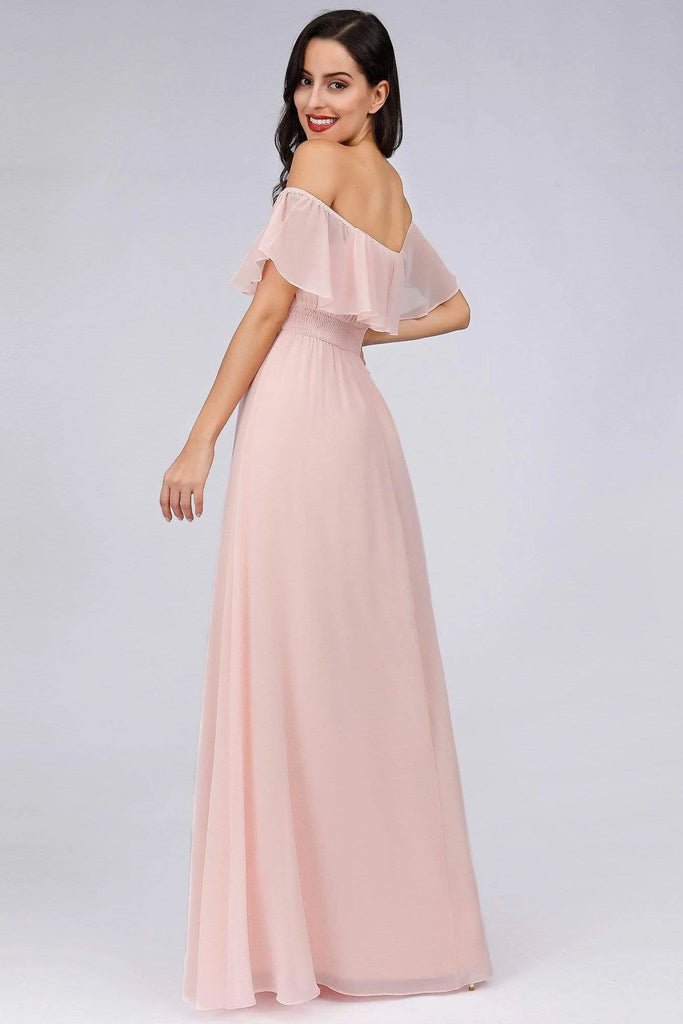 Charming Off Shoulder Ruffle Pink Chiffon Long Prom Dresses Bridesmaid Dresses P1184