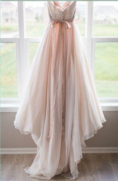 Blush Pink Princess Sweetheart Wedding Dress with Lace Tulle Brides Dress PM100