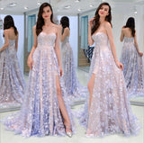 Charming Sweetheart Strapless Lace Appliques Lilac Prom Dresses with Slit P1484
