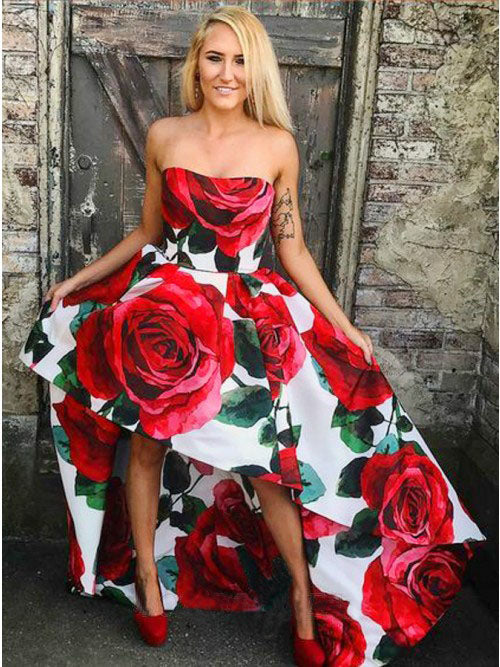 A Line Strapless High Low Red Rose Floral Satin Prom Dresses, Long Evening Dress P1438