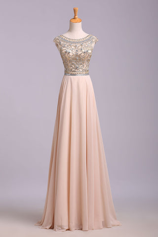 A Line Blush Pink Cap Sleeve Chiffon Beads Round Neck Open Back Long Prom Dresses uk PW174