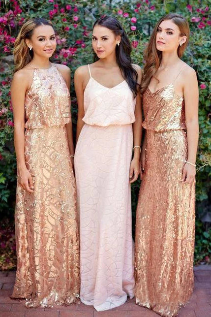 Cheap Pink Lace Sparkly Sequin Gold Mismatched Bridesmaid Dresses, Long Prom Dresses BD1021