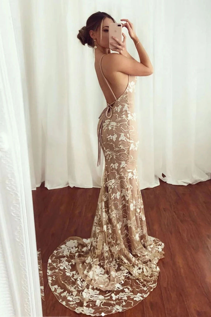 Sexy Mermaid V neck Lace Appliques Long Prom Dresses Spaghetti Straps Formal Dresses P1359