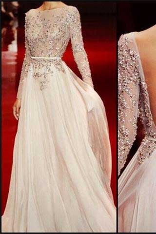 Long Sleeves Charming Floor-length Backless Cocktail Evening Long Prom Dresses Online,PD0201