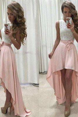 New Arrival Sexy Unique High Low Sleeveless Pink White Chiffon Scoop Prom Dresses uk PM771