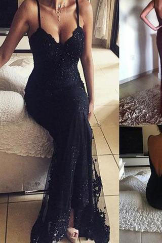 2017 Long Beaded Lace Vintage V-Neck Sexy Prom Dresses AB060