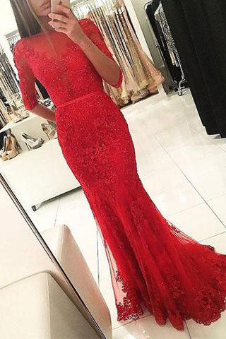 Graceful Red Beaded Lace Long Half Sleeve Backless Floor Length Mermaid prom Dresses uk PM703
