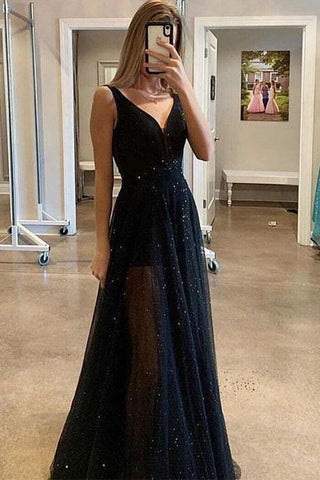 Sparkly Sequins A Line Black V Neck Tulle Prom Dresses, Long Evening Dresses P1549