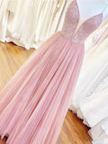 A Line Spaghetti Straps V Neck Rose Pink Tulle Prom Dresses Beaded Bodice Formal Dress P1357