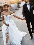 A Line Sweetheart Off the Shoulder Tulle Ivory Long Wedding Dresses with Appliques W1242