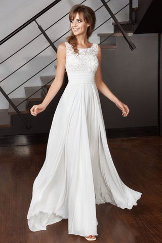 Elegant A Line Scoop Chiffon Ivory Long Appliques Beach Wedding Dresses uk with Lace PH971