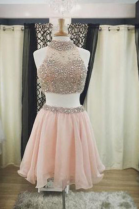 2017 Two Pieces Halter Cute Mini Blush Pink Sexy Short Homecoming Dresses CM925