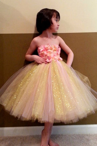 Sweet Ball Gown Strapless Tulle Ankle-length Bowknot Ribbons Multi Flower Girl Dresses PH734