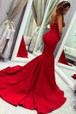 Sexy Red Sweetheart Mermaid Prom Dresses, Strapless Sweetheart Evening Dresses P1314