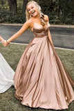 Simple A Line Rose Gold Spaghetti Straps V Neck Prom Dresses, Backless Long Dance Dress P1380