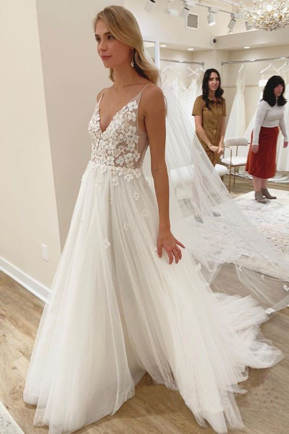 Elegant A line Spaghetti Straps V Neck Tulle Wedding Dresses, Wedding Gowns W1255