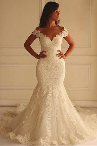 Off Shoulder Short Sleeves Mermaid Lace Wedding Dress with Appliques,Bridal Dress PM750