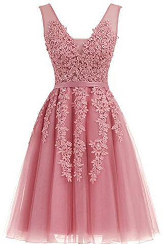 Short Dusty Rose Homecoming Dresses Lace Beads Tulle Appliqued Princess Hoco Dress PH729