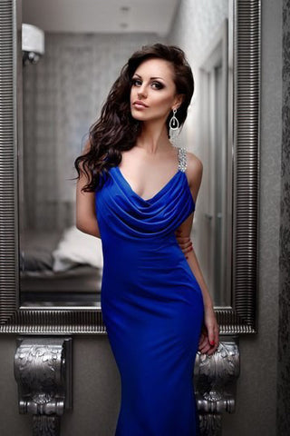 Blue Deep V-Neck Ruffles Open Back Mermaid Silvery Sequins Beaded Backless Prom Dresses uk PM801