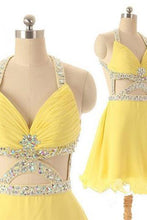 Dramatic A-line V-neck Short Chiffon Backless Daffodil Homecoming Dress with Rhinestone PM470