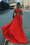 Simple A Line Red V Neck Criss Cross Satin Prom Dresses, Long Evening Dresses P1560