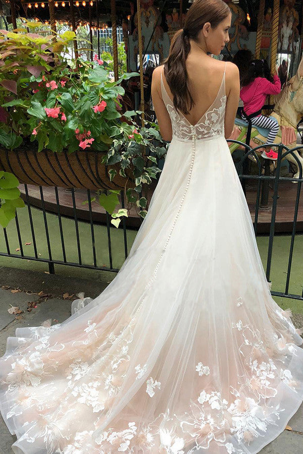 Tulle V Neck Embroidery Long Spaghetti Straps Wedding Dresses, Bridal Dresses W1183