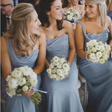 One Shoulder Dusty Blue Long A-line Sleeveless Chiffon Cheap Popular Bridesmaid Dresses PM518