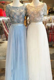 Tulle Scoop Neck A-line Floor-length with Beading Two Piece Short Sleeve Prom Dresses uk PM631