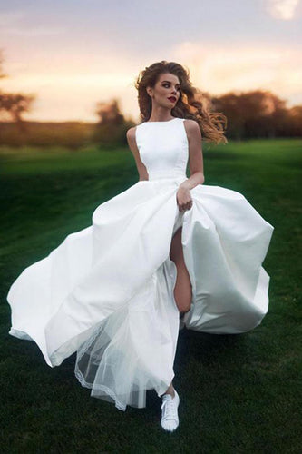 Elegant A-line Bateau Ivory Sleeveless Satin Prom Dress,Simple Wedding Dress PH443
