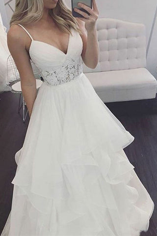 Elegant A Line V Neck Spaghetti Straps Ivory Organza Long Wedding Dresses uk with Lace PH974