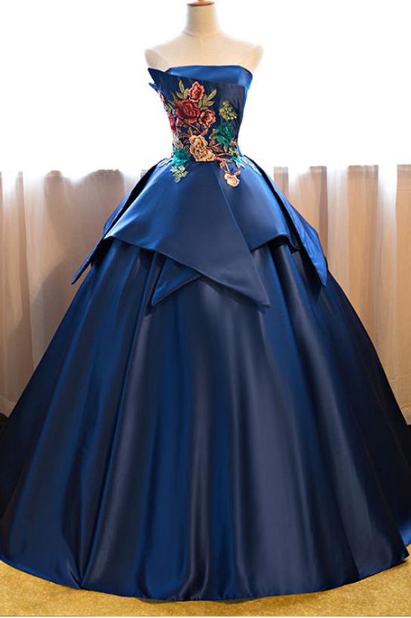 Dark Blue Ball Gown Satin Strapless Lace up Appliques Long Prom Quinceanera Dress PH602
