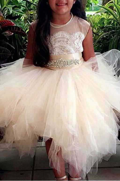 A-Line Tulle Beads Appliques Scoop Blush Pink Button Cap Sleeve Flower Girl Dresses PM888