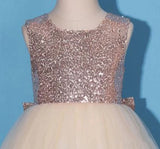 Princess Gold Sequin Shiny Round Neck Flower Girl Dresses with Bowknot, Baby Dresses FG1022