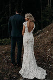Charming Mermaid Lace Ivory Cap Sleeves Wedding Dresses, Bridal Dresses W1246