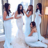 Charming Light Blue Mermaid High Neck Bridesmaid Dresses, Long Wedding Party Dress BD1033