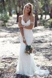 Sexy Spaghetti Straps Mermaid Lace Ivory Wedding Dresses, V Neck Beach Wedding Gowns W1177