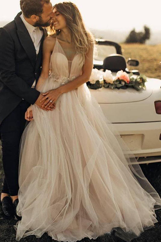Spaghetti Straps Tulle Deep V-Neck Wedding Dresses, Romantic Bohemian Beach Bridal Dress W1175