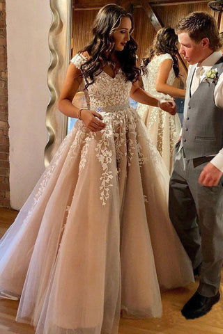 A Line Cheap Nude Quinceanera Dress Lace Appliques Cap Sleeve Beaded Prom Dresses uk PW238