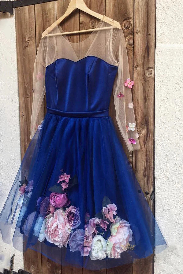 Unique Long Sleeve Blue Short Prom Dresses With 3D Appliques, Homecoming Dress P1351