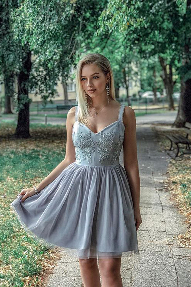 A Line Sweetheart Strapless Straps Tulle Beaded Grey Short Homecoming Dresses with Appliques PH950