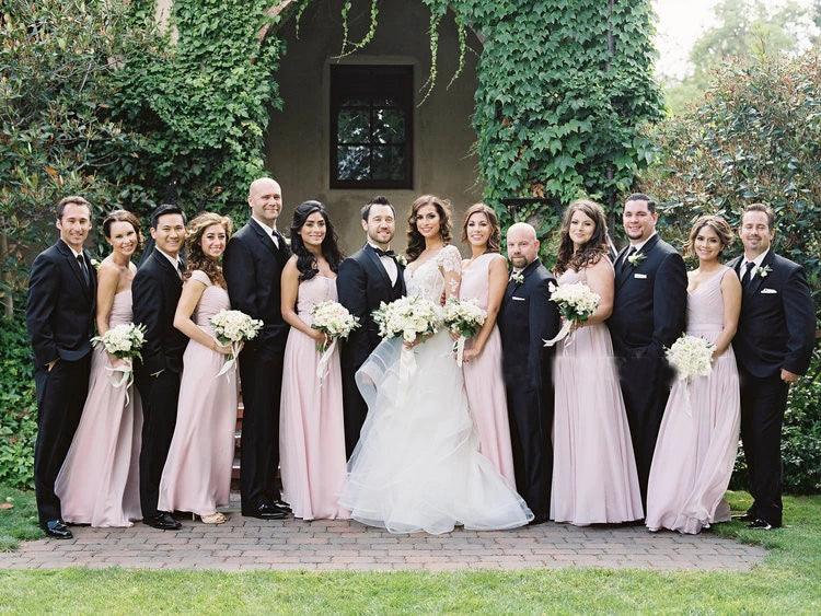 Simple Pink Mismatched A-Line Bridesmaid Dresses, Elegant Chiffon Bridesmaid Dress BD1022