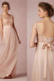2017 Cap Sleeve A-Line Lace Chiffon Long Elegant Backless Bridesmaid Dress PM155
