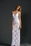 Beach Backless Sexy Mermaid Lace White Open Back Halter V-Neck Summer Wedding Dress PM698