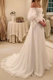 Charming Off the Shoulder Lobg Sleeves Ivory Chiffon Wedding Dresses, Bridal Dresses W1272