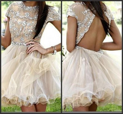 Homecoming dress,Short Charming Prom Dress,Cap Sleeves Backless Prom Dress,BD618