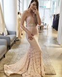 Gorgeous Lace Sexy Blush Pink Sweetheart Mermaid Charming Lace Prom Dresses uk PM747