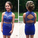 Mermaid Homecoming Dresses,Two Pieces Royal Blue Homecoming Dresses PM432