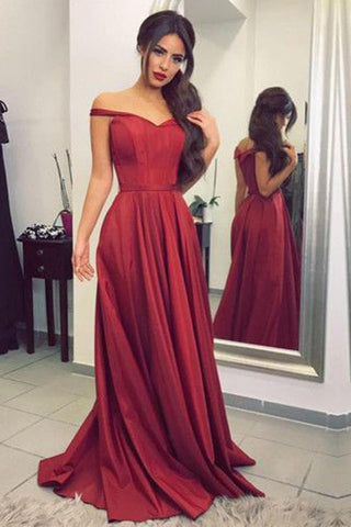 Satin Off the Shoulder A-line Sweep Train Sashes Sweetheart Burgundy Prom Dresses PH604