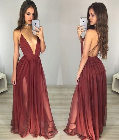 Burgundy Deep V-neck Sexy Spaghetti Straps A-Line Backless Tulle Evening Dresses uk PM818