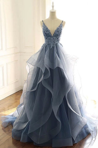 Spaghetti Straps Blue Gray Tulle V Neck Long Ruffles Prom Dresses with Lace Applique P1225